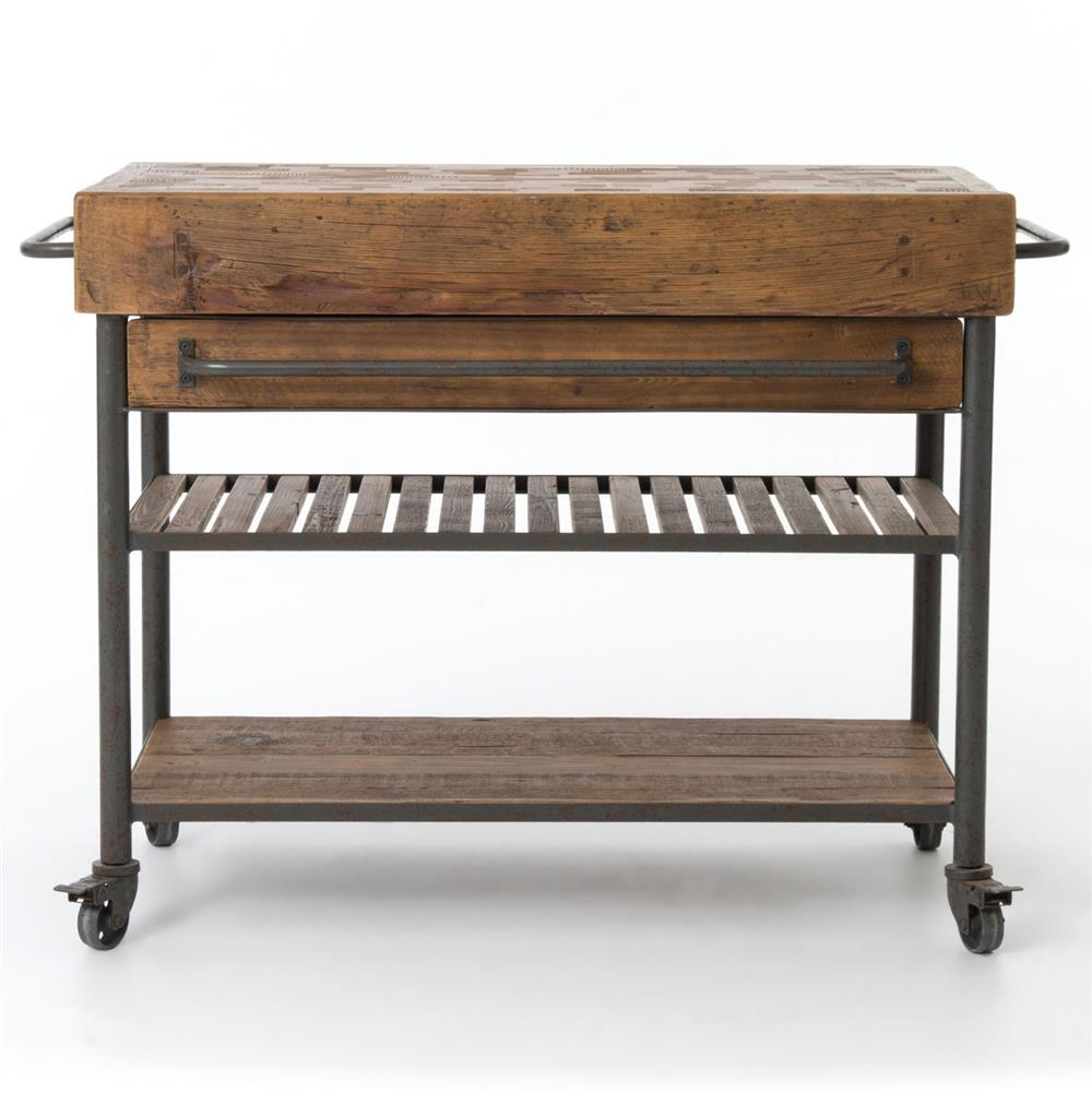 kershaw rustic chunky reclaimed wood iron double drawer white iron kitchen island with butcher block chairish