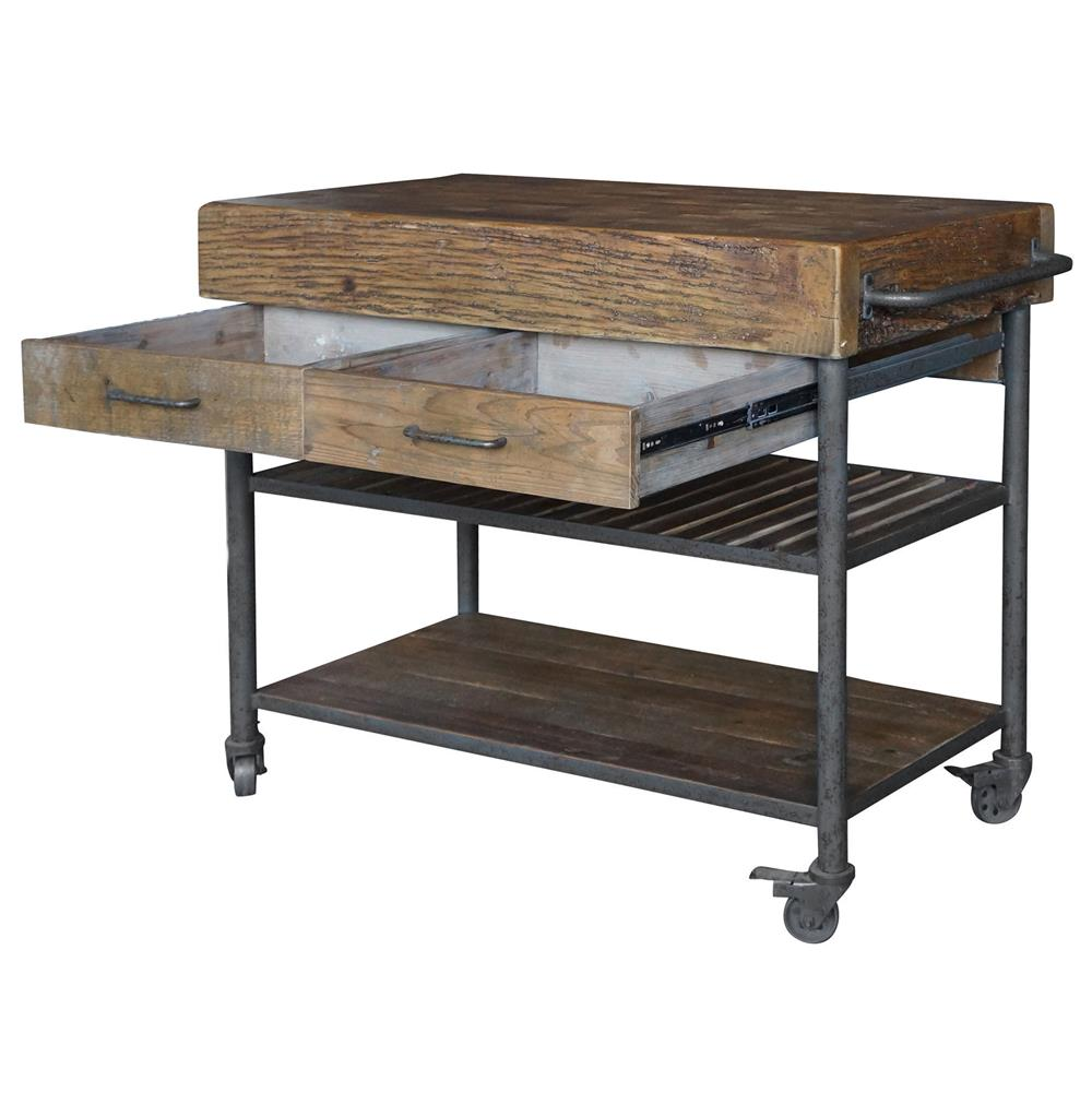 Reclaimed Wood Kitchen Island Cart