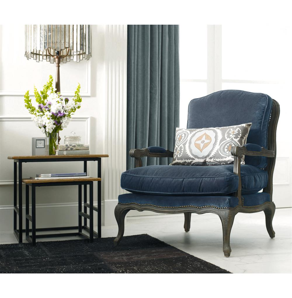 ... Sasha Blue Velvet French Style Oak Accent Bergere Accent Armchair    Kathy Kuo Home ...