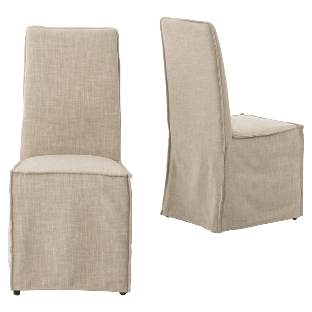 Lena Modern Classic Light Linen Slipcover Dining Chair Pair
