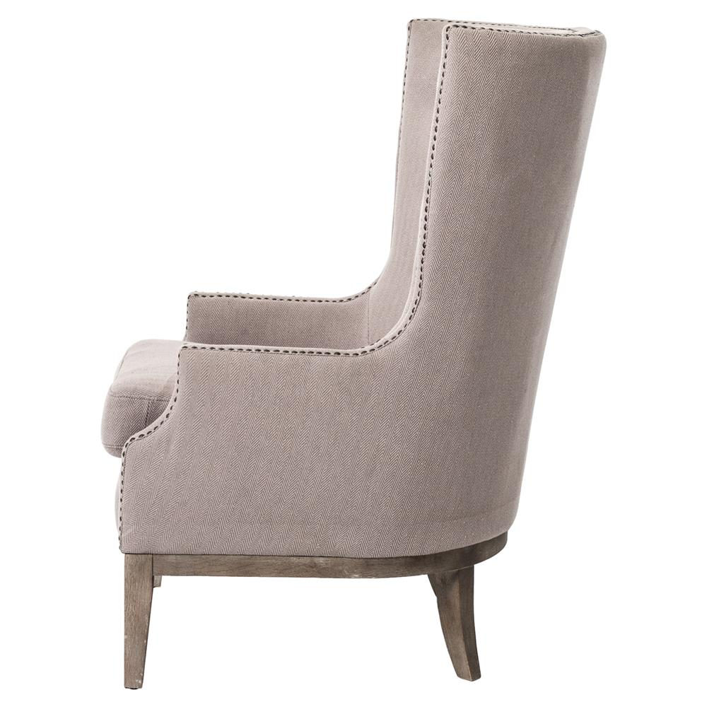 Chevron wing chairs - Kendall Hollywood Regency Taupe Grey Chevron Linen Wing Chair Kathy Kuo Home