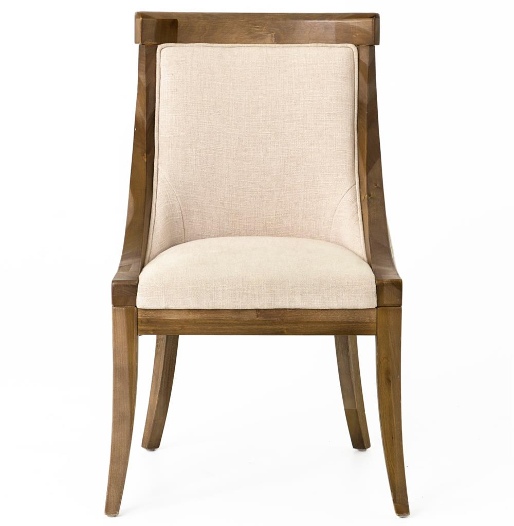 Liv wood natural textured cotton dining chair pair for Natural wood dining chairs