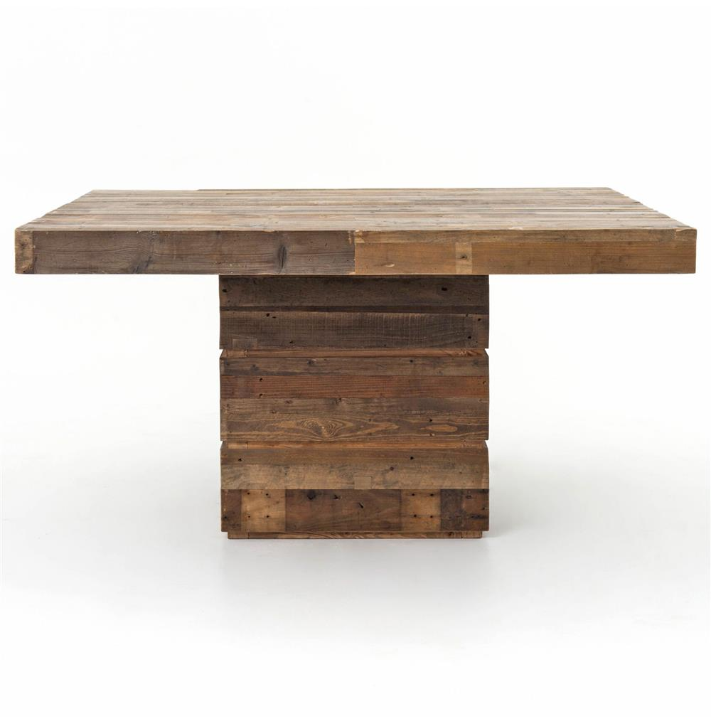 hunter rustic lodge chunky reclaimed wood square dining table kathy kuo home - Square Wood Dining Table