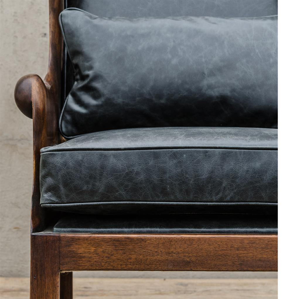 Finest Normandy Solid Carved Walnut Wood Black Leather Wing Chair | Kathy  IO96