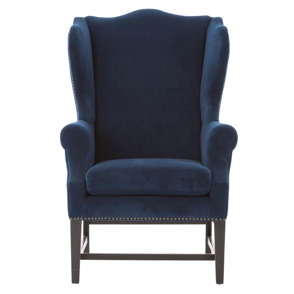 gracie art deco royal blue velvet classic wing chair kathy kuo home. Black Bedroom Furniture Sets. Home Design Ideas