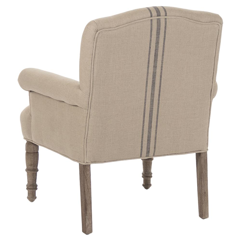 Rama French Country Blue Stripe Linen Accent Club Chair Kathy Kuo Home