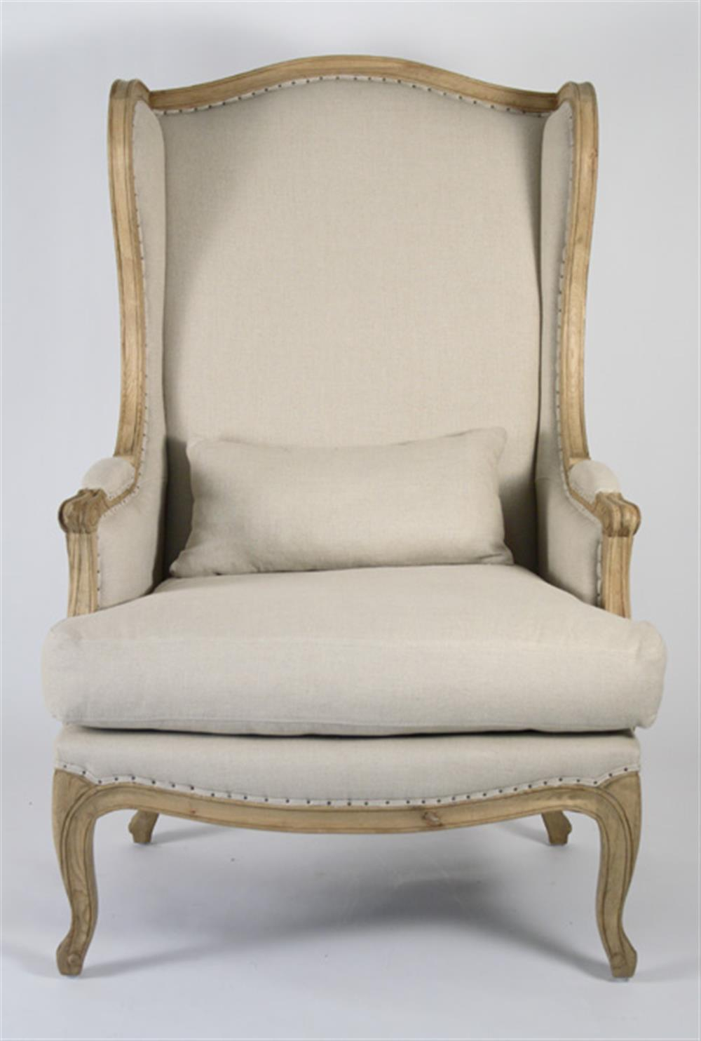 Leon French Country High Back Linen Wing Chair Kathy Kuo
