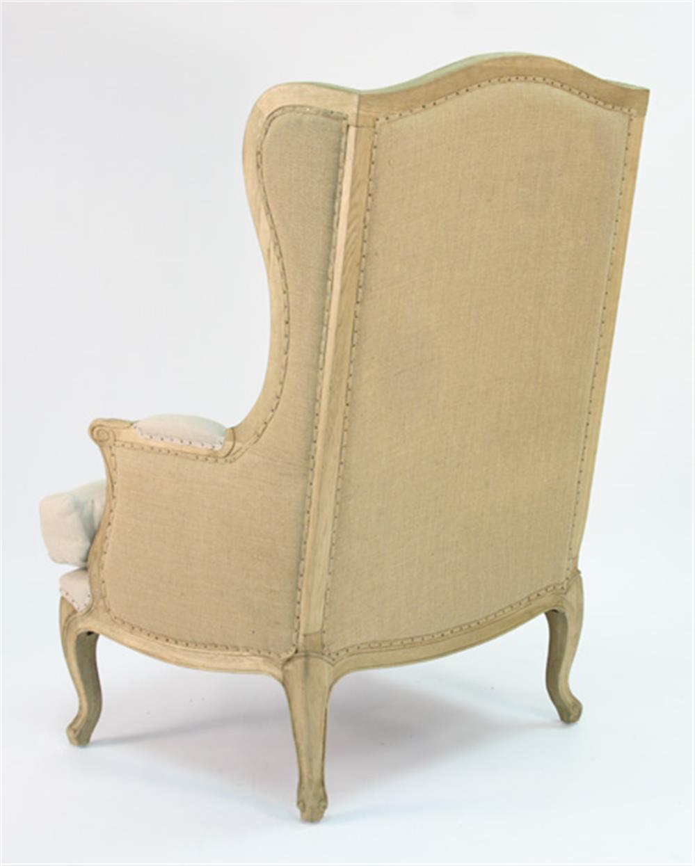 Leon French Country High Back Linen Wing Chair Kathy Kuo Home View Full Size