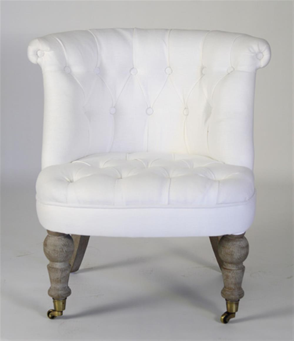 Amelie French White Linen Tufted Accent Chair