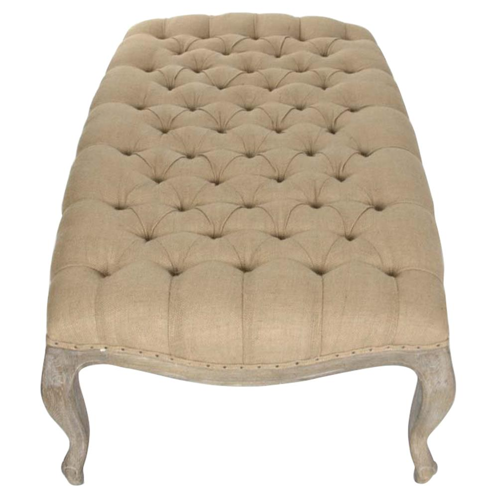 French country rustic burlap tufted cocktail ottoman