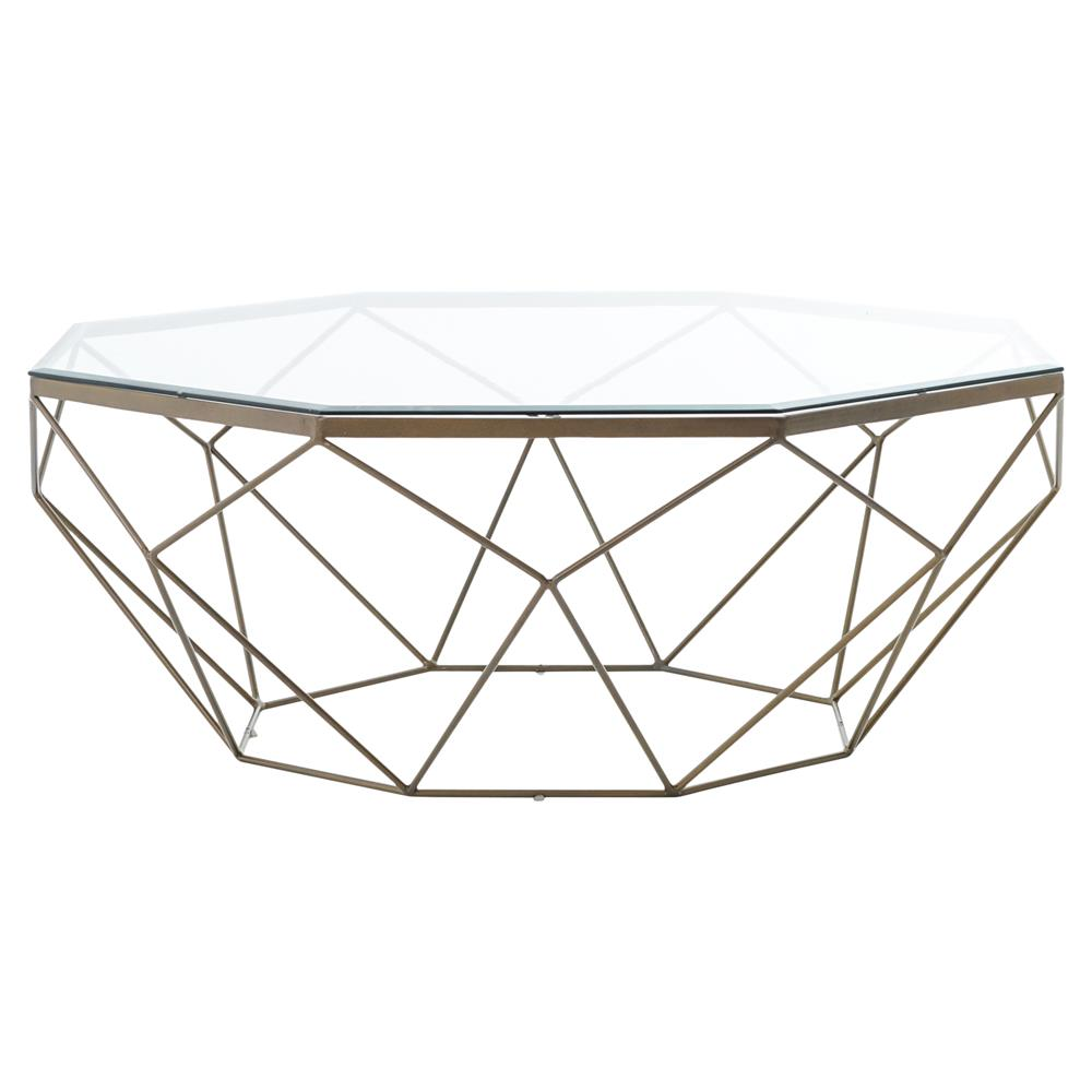 Contemporary Vintage Coffee Tables: Dixon Geometric Modern Antique Brass Octagonal Coffee Table