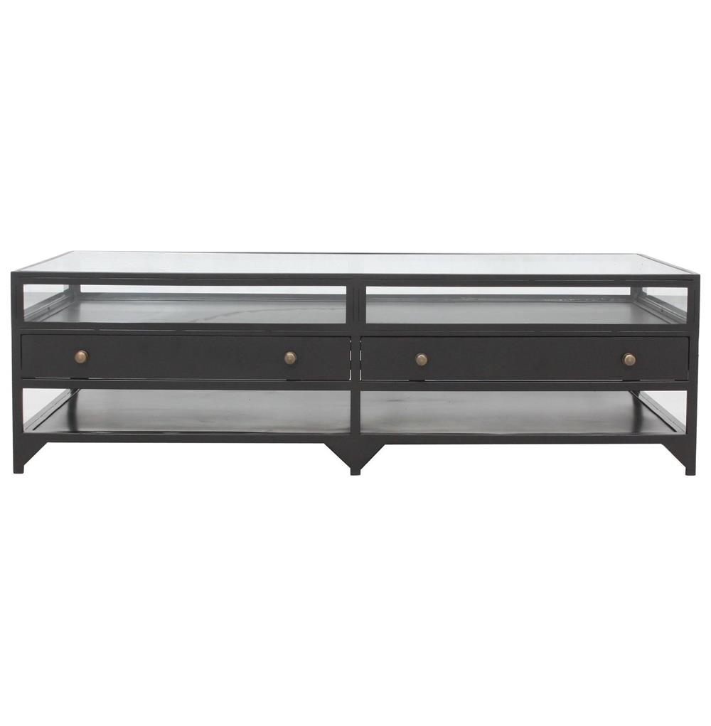 Viktor industrial loft shadowbox iron 4 drawer coffee table 4 drawer coffee table kathy kuo home view full size geotapseo Image collections