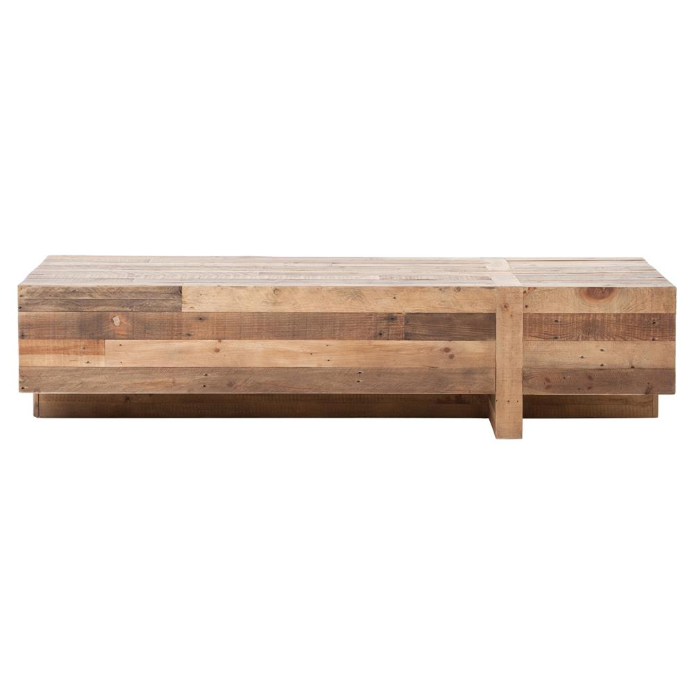 Wyatt Rustic Lodge Chunky Reclaimed Wood Rectangle Coffee Table Kathy Kuo Home View Full Size