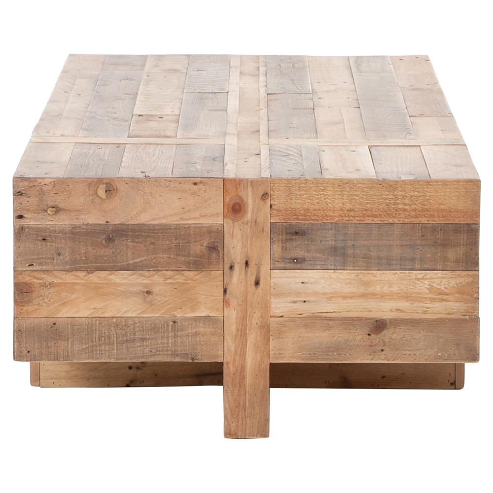 Wyatt Rustic Lodge Chunky Reclaimed Wood Rectangle Coffee