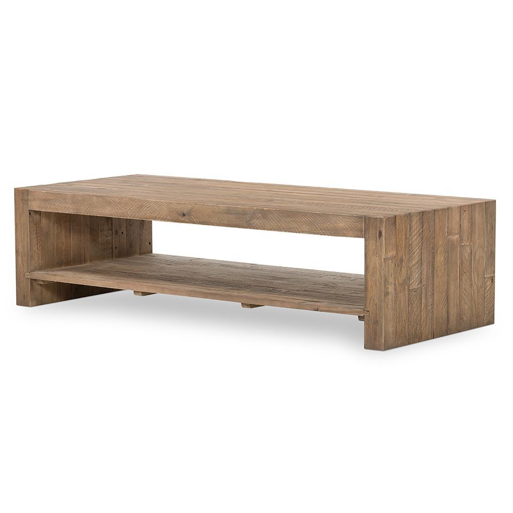 Wynn modern rustic lodge chunky reclaimed wood rectangle for Modern wood coffee table