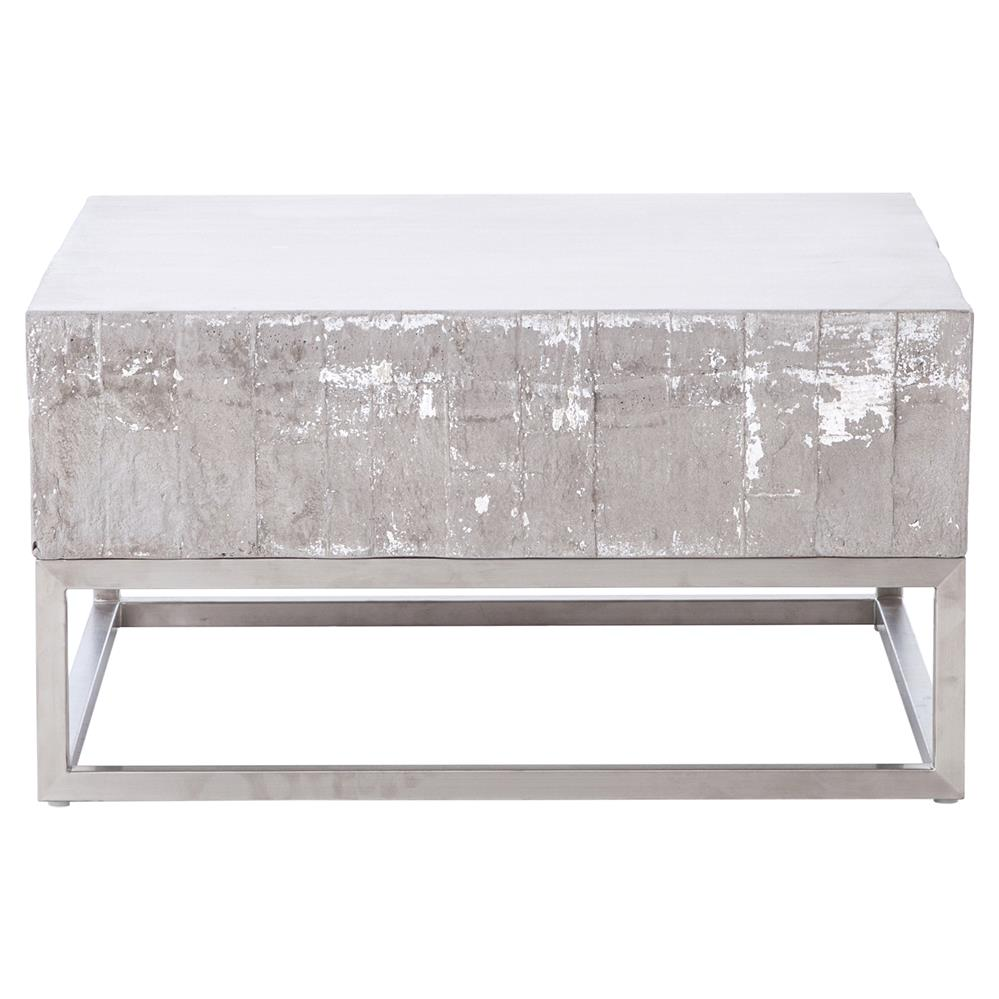 Merveilleux Maximus Concrete Chrome Distressed Square Block Coffee Table | Kathy Kuo  Home · View Full Size ...