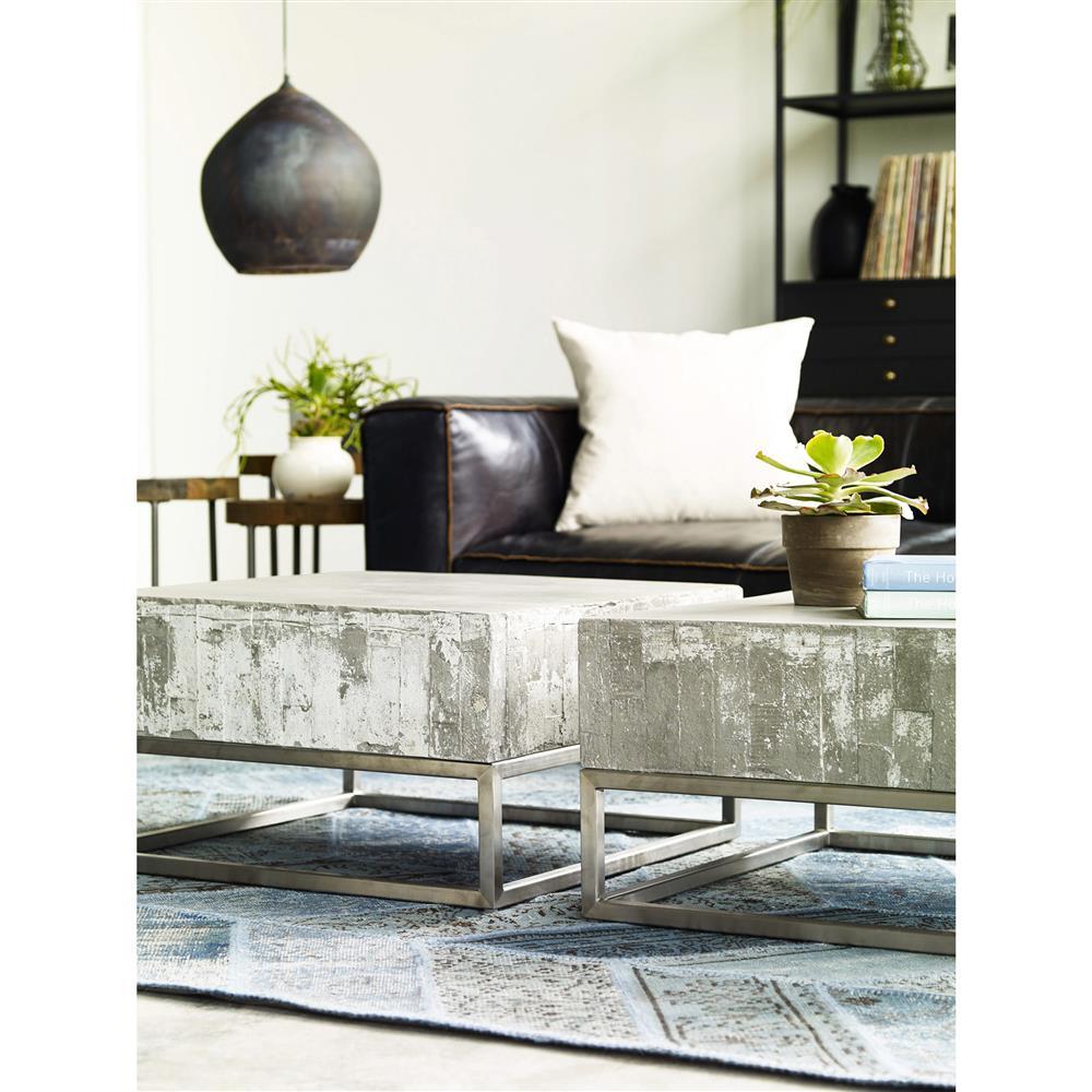 Maximus Concrete Chrome Distressed Square Block Coffee Table