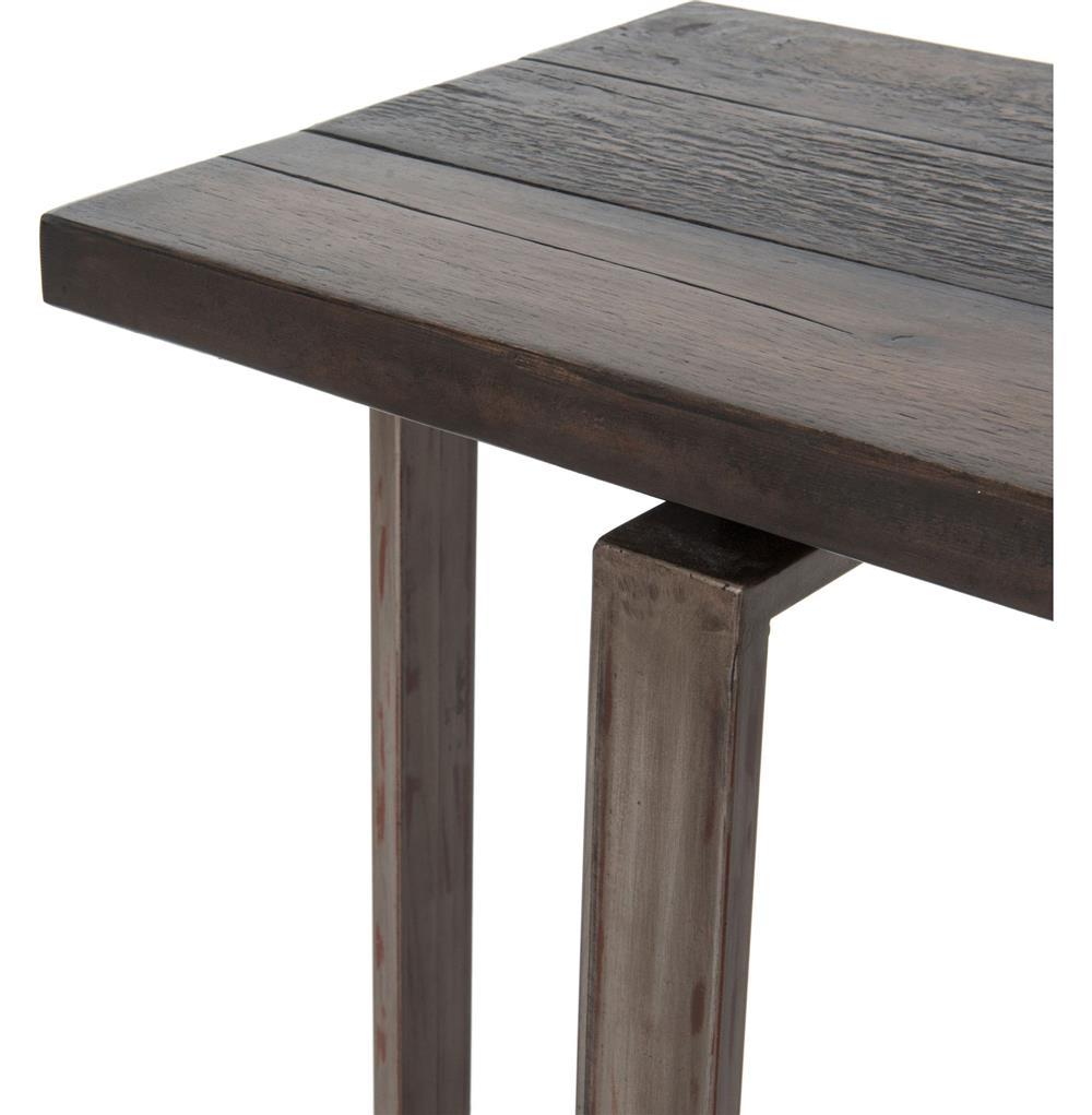jared galvanized iron dark grey oak geometric console table