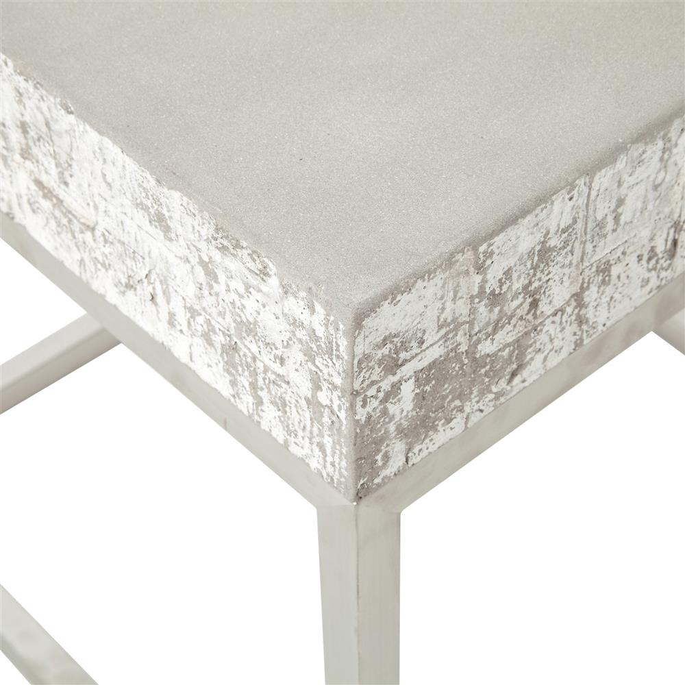 Maximus Concrete Chrome Distressed Square Block End Table Kathy Kuo Home