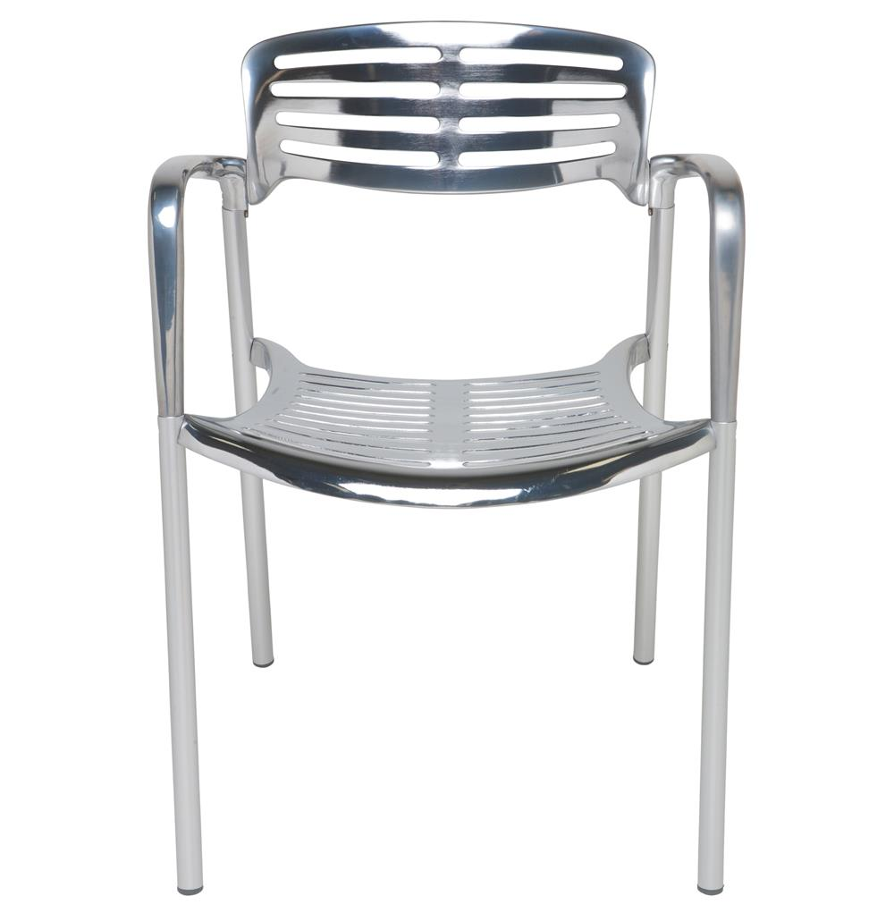 Ginny chrome metal modern slatted cafe dining arm chair for Modern chrome dining chairs