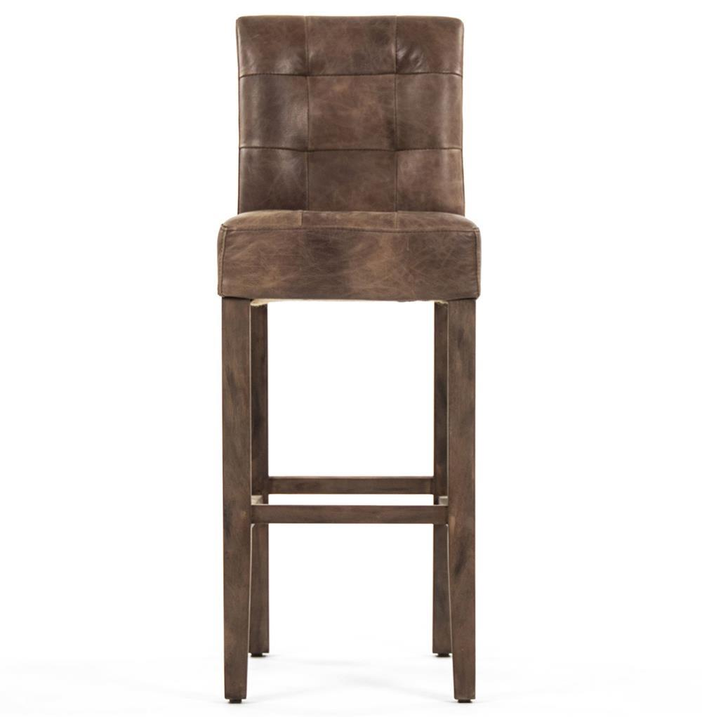 Sigmund Rustic Lodge Tufted Brown Leather Bar Stool Kathy Kuo Home