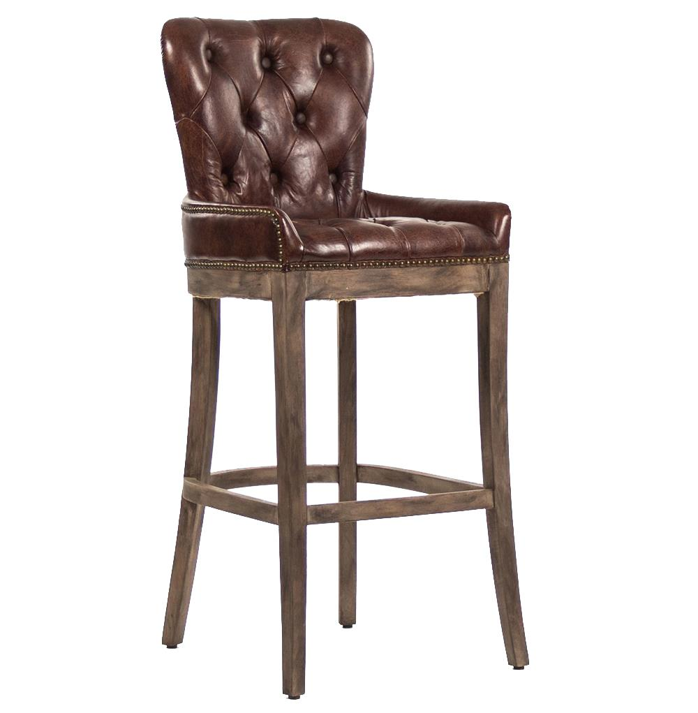 Ridley Rustic Lodge Tufted Brown Leather Bar Stool Kathy