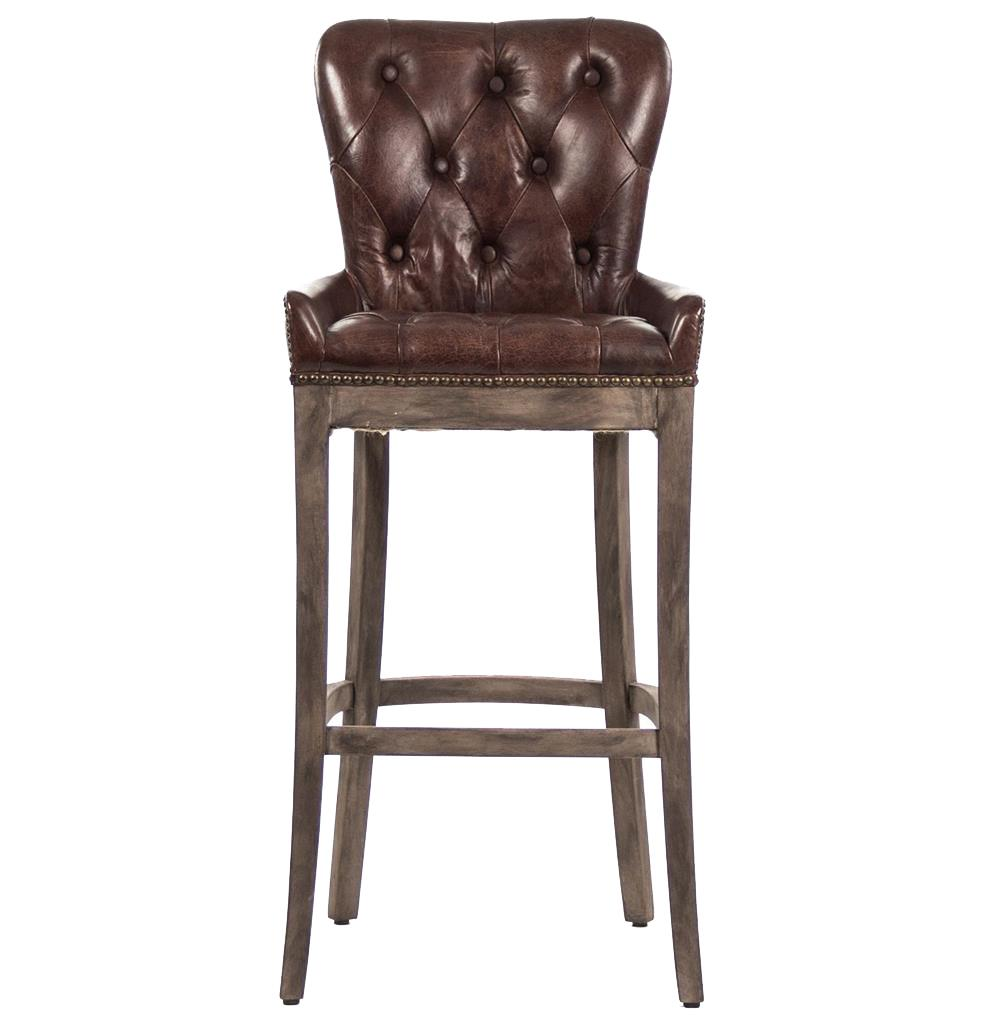 Ridley Rustic Lodge Tufted Brown Leather Bar Stool Kathy  : product97602 from kathykuohome.com size 1000 x 1021 jpeg 56kB