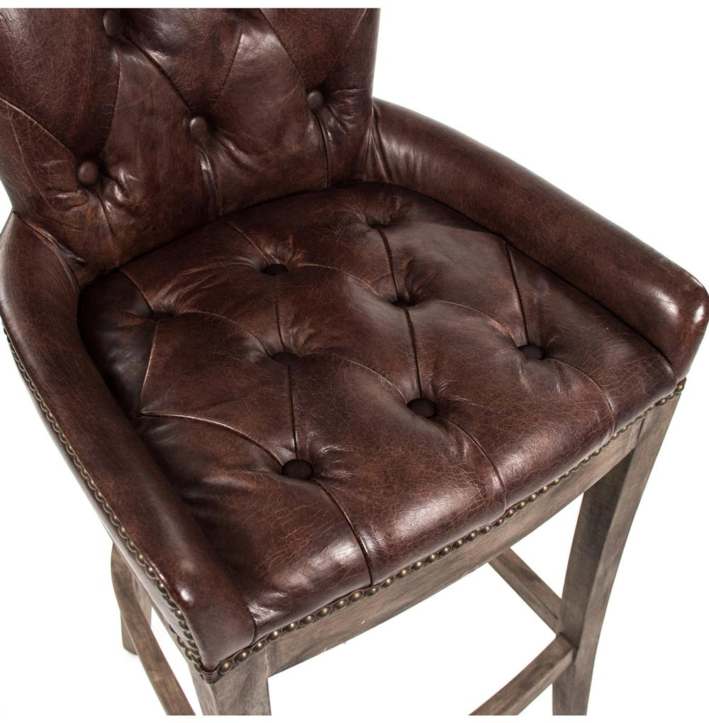 Ridley Rustic Lodge Tufted Brown Leather Bar Stool Kathy  : product97604 from www.kathykuohome.com size 1000 x 1021 jpeg 117kB
