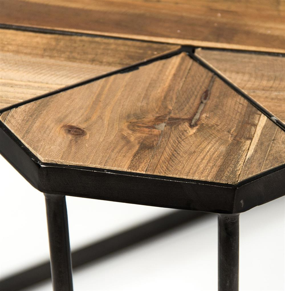 Deon Industrial Style Pattern Metal Rectangle Coffee Table: Kieran Reclaimed Wood Parquet Industrial Iron Long Bench