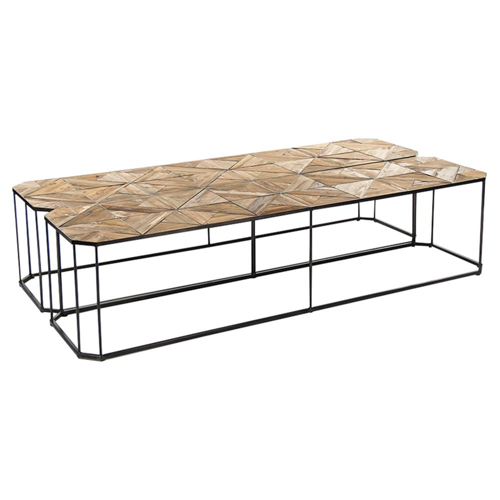 Iron Coffee Tables Kieran Reclaimed Wood Parquet Industrial Iron Long Bench Coffee