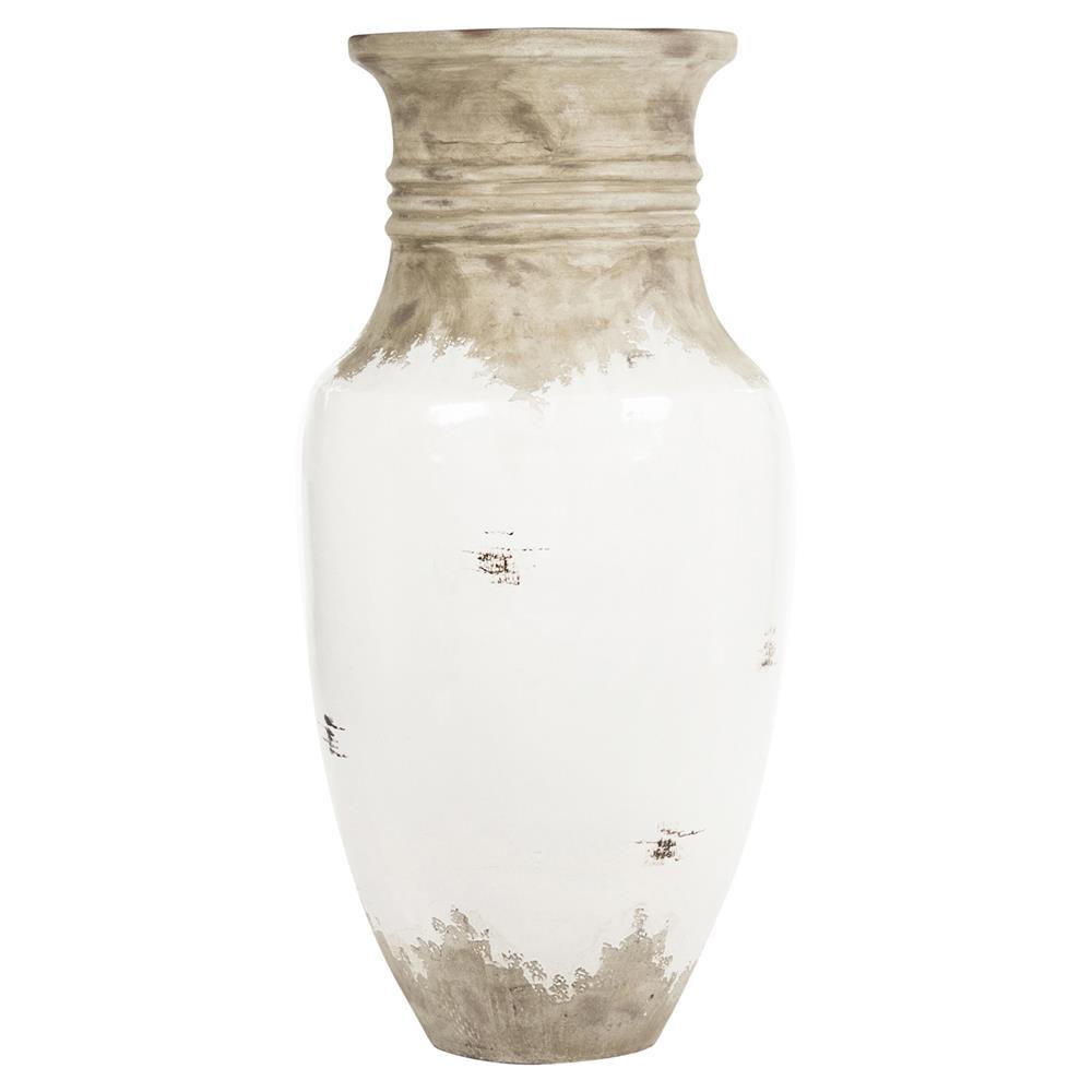 Siena Large White Rustic Distressed White Ceramic Urn Floor Tulip Vase