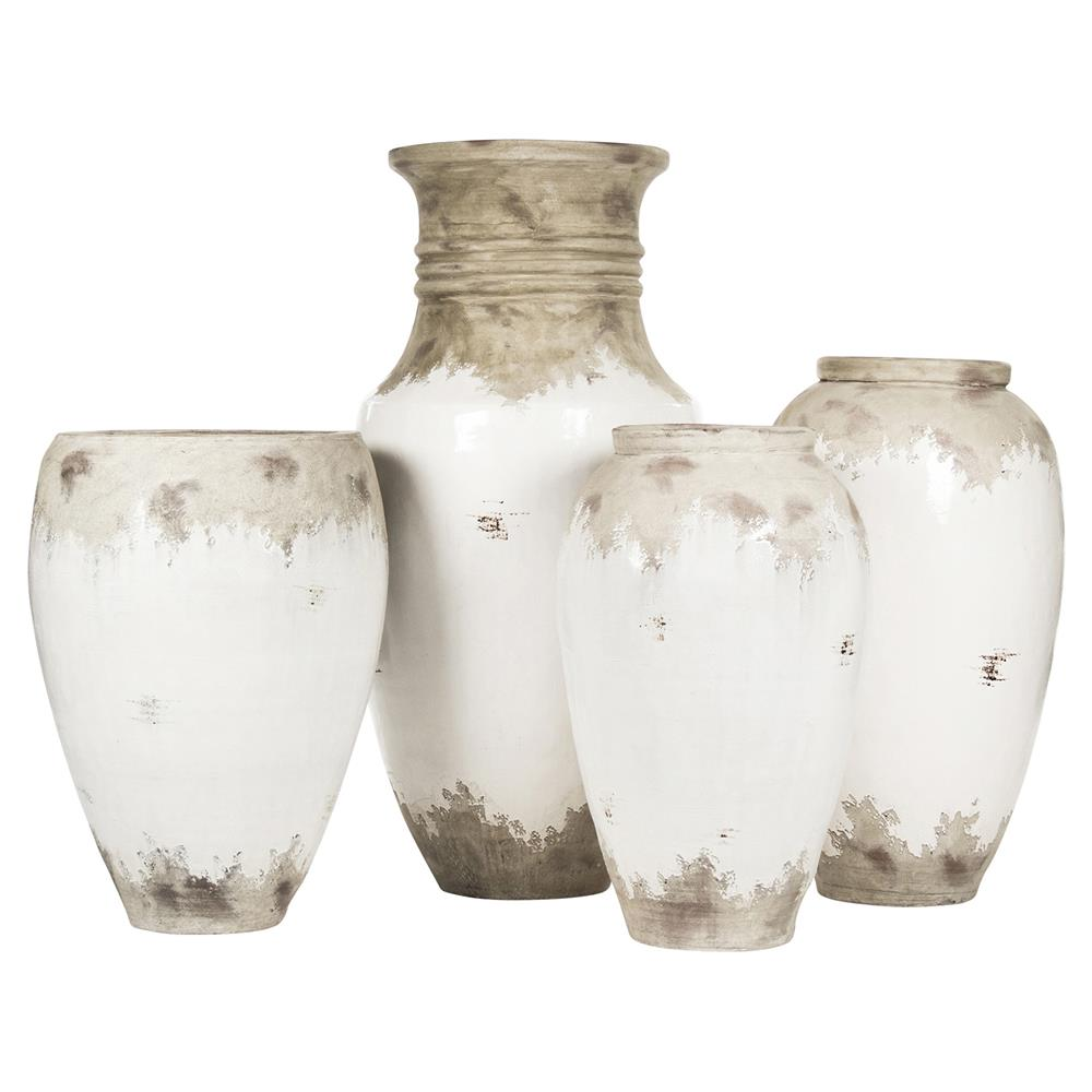 Siena Large White Rustic Distressed White Ceramic Urn