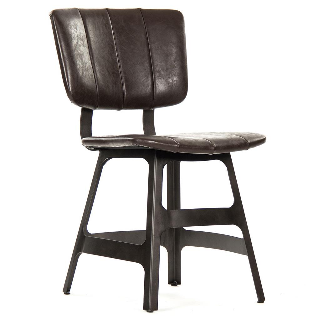 Robertson rustic industrial espresso brown leather iron for Brown leather dining room chairs