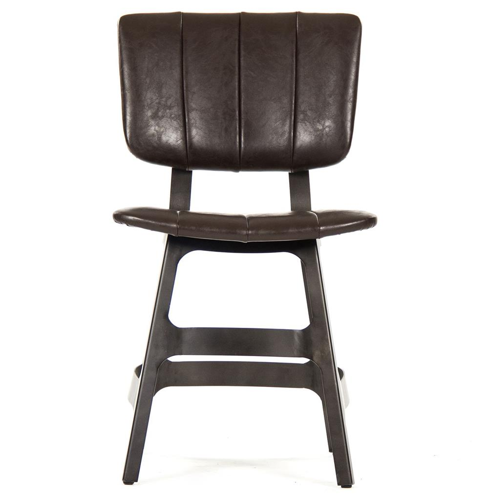 Industrial leather dining chair - Robertson Rustic Industrial Espresso Brown Leather Iron Dining Side Chair Kathy Kuo Home