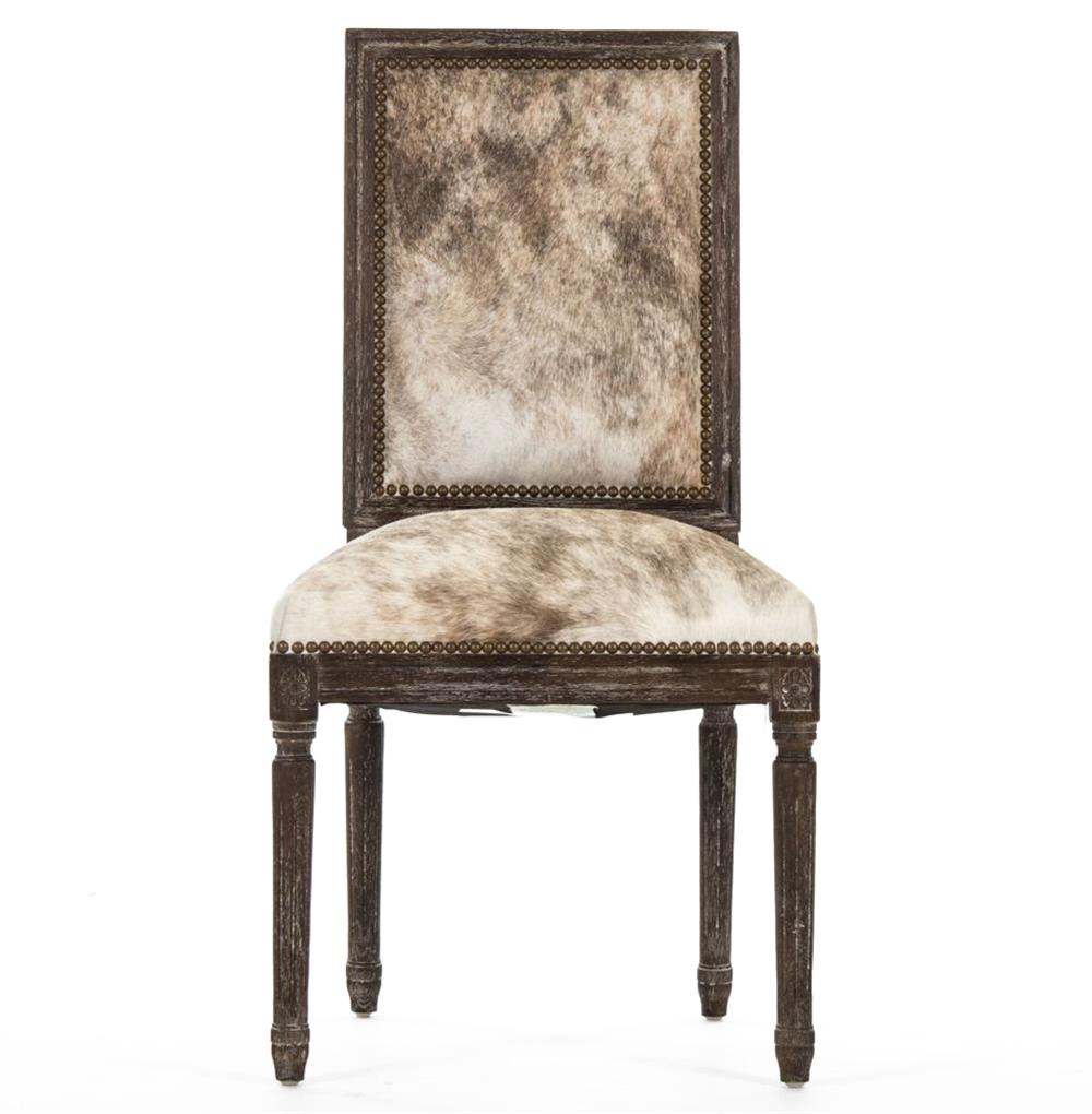 Square Dining Chairs: Kudro French Country Square Back Light Brindle Hair On