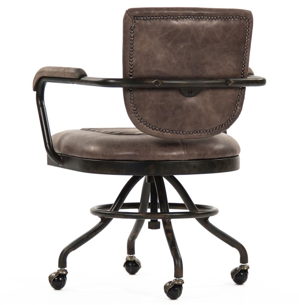 Noa Industrial Rustic Top Grain Leather Adjustable Rolling Task Desk Chair    Kathy Kuo Home