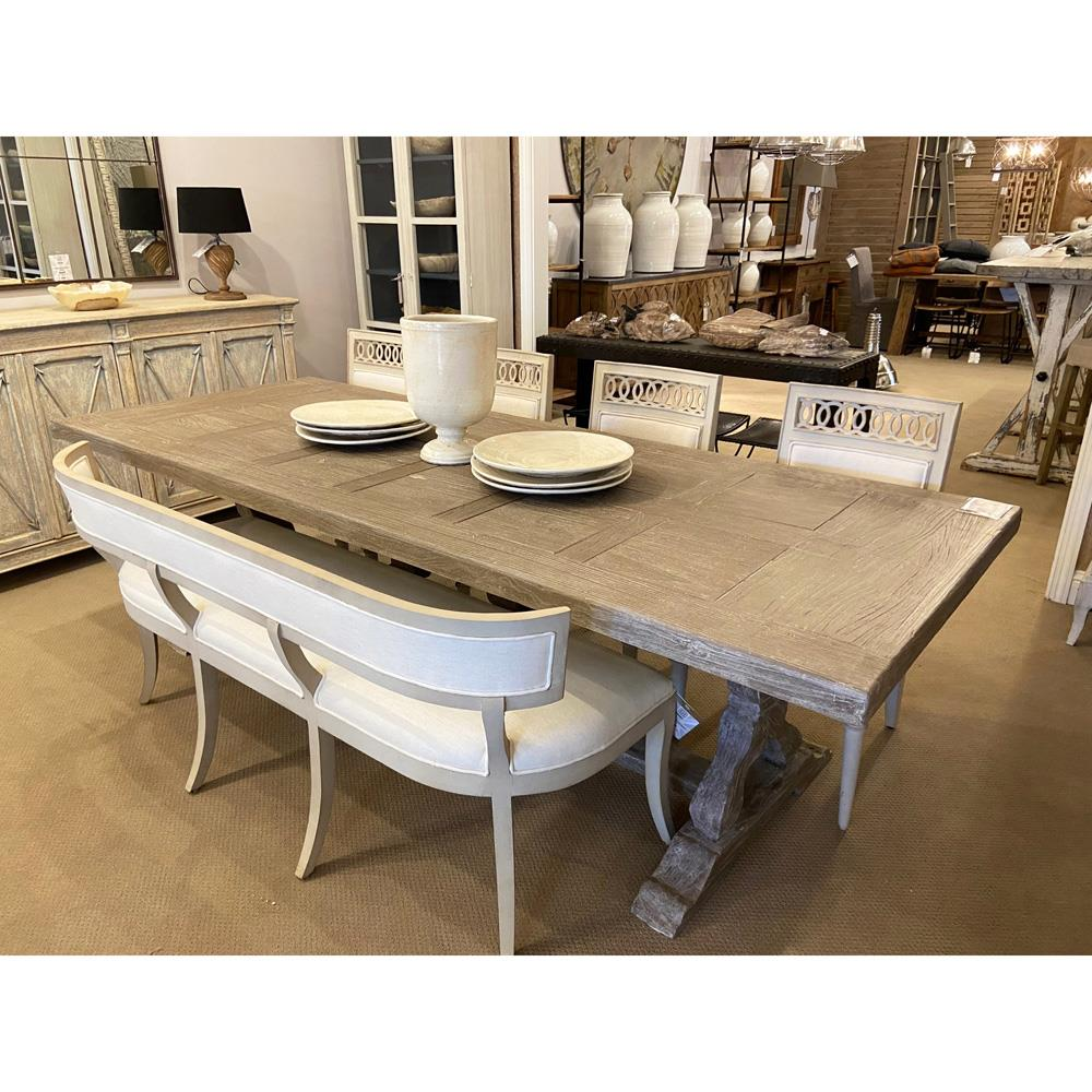Ronald French Country Parquet Top Rustic Large Outdoor Safe Dining Table Kathy Kuo Home