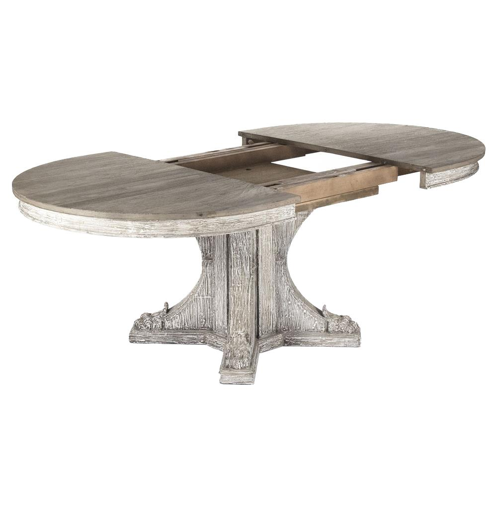 Agnes french country rustic oval extendable dining table for Extendable dining table
