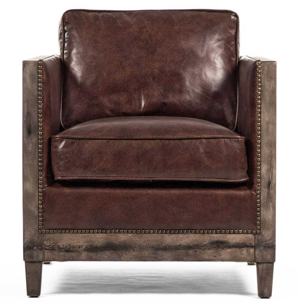 ... Beck Industrial Rustic Lodge Masculine SquareBrown Leather Accent Club  Chair | Kathy Kuo Home ...