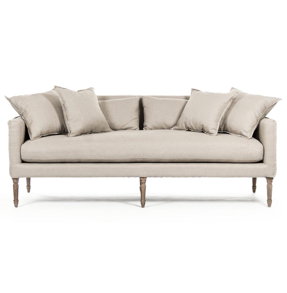 George modern french country linen grey oak louis style sofa kathy kuo home - French country sectional sofas ...