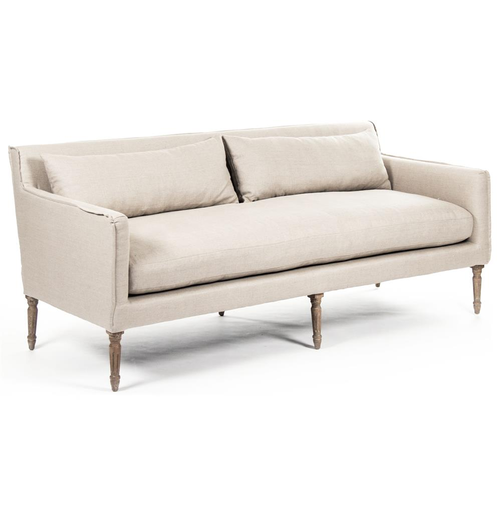 George Modern French Country Linen Grey Oak Louis Style Sofa - photo#12