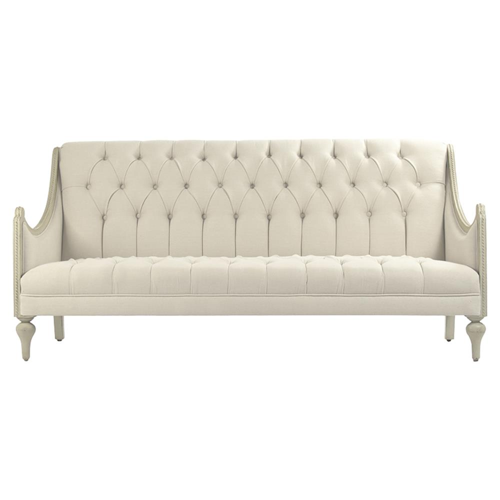 Dining Fabulous French Style Dining Settee Bench: Livia French Country Tufted Linen Grey Wash Cream Cotton