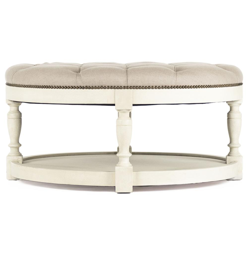 Marseille French Country Cream Ivory Linen Round Tufted Coffee Table Ottoman Kathy Kuo Home