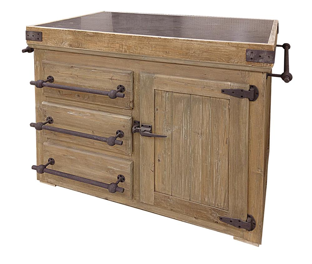 edmond french reclaimed pine stone rustic steel 50 5 inch kitchen