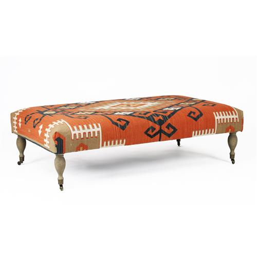 Rustic Deep Coral Orange Red Woven Kilim Coffee Table Ottoman Kathy Kuo Home