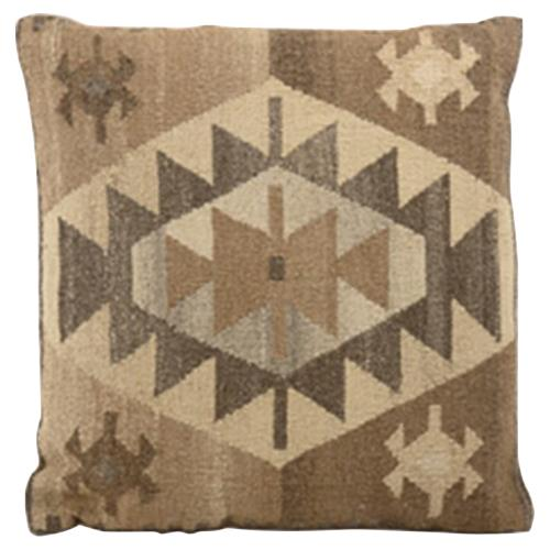 Orhan Brown Beige Wool Kilim Pillow - 22x22 | Kathy Kuo Home