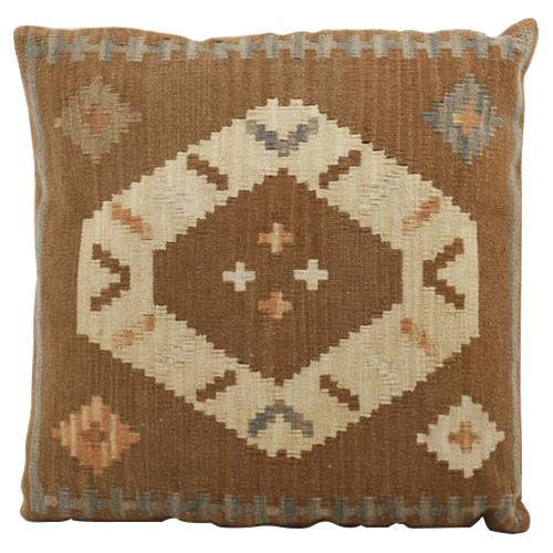 Kismet Brown Brick Orange Kilim Wool Pillow - 22x22 | Kathy Kuo Home