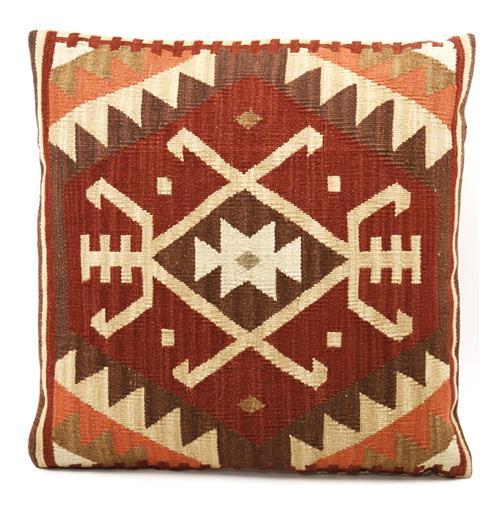 Beren Rust Orange Beige Kilim Wool Pillow - 22x22 | Kathy Kuo Home