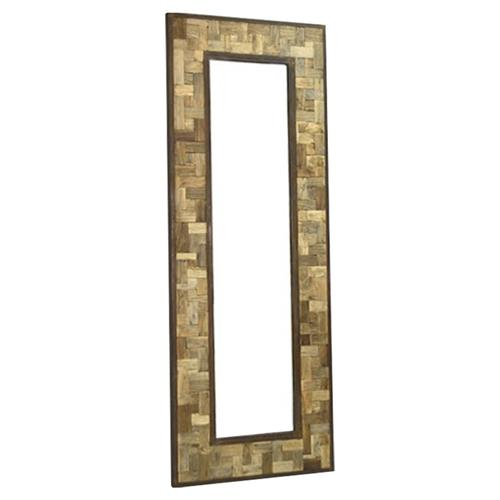 Reclaimed Wood Metal 30 X 80 Leaning Floor Mirror | Kathy Kuo Home