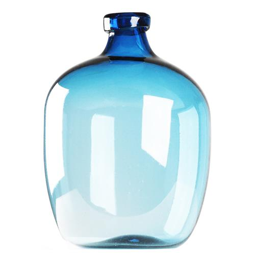 Azure Beach Blue 20H Glass Bulb Bottle Vase | Kathy Kuo Home